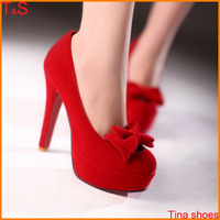Large Size 9-11 Hot Sale women sexy fashion wedding red bottom high heel pumps platform cone heel with bowtie bridals shoes M22