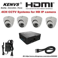 4CH FUII 1080P NVR Free surveillance Security CCTV System NVR HDMI 4*720P HD IP CAMERA CCTV IP CAMERA KIT Dome camera P2P ICLOUD