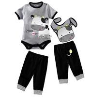 Retail Baby Boys Clothes Outfits 3pcs Sets Milk Short Sleeve Baby Bodysuit Bibs Pants Suits Infant Romper Cotton W210