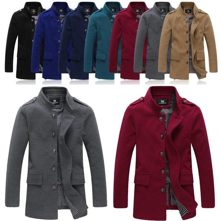 Nouvelle marque 2014 hiver, hommes manteaux de laine chaude extérieur. d'épaisseur. de bonbons de couleur mode casual vestes, h0733-6 cachemire long