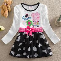 wholesale 2014 summer  white Girls cartoon dress Fashion  girl dress peppa pig Embroidered dress mix each 5pc/lot