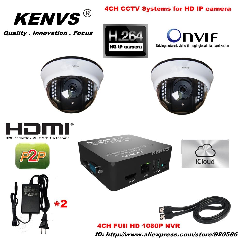 HD IP CAMERA surveillance Security 2*960P Network icloud P2P NVR CCTV IP CAMERA KIT CCTV System HDMI 1080P 4CH FUII NVR(China (Mainland))