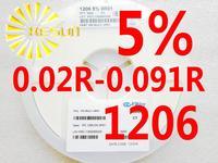 5000PCS 1206 Resistor 0.02R - 0.091R 5% 1/4W SMD Resistor 1206 Chip Resistors