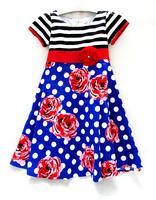 Wholesael Summer Children Cotton short sleeve dresses for Girls rose DOT spring autumn Child Clothing Girls Dress for 7 - 14year