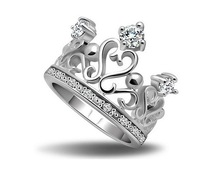 Fashion Lovely Design Electroplating Platinum Silver Rhinestone Crown Rings