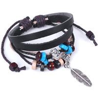 Fashion Unisex Cool Indian Ethnic Style Beads Plume Faux Leather Bracelet Hot Sale