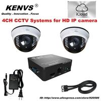2*720P HD IP CAMERA surveillance Security  Network  icloud P2P NVR CCTV IP CAMERA KIT CCTV System HDMI 1080P 4CH FUII NVR