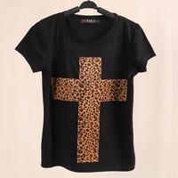 Hot-selling Designers women t-shirt fashion leopard print personalized cross stretch cotton t shirt o-neck short-sleeve tops