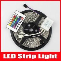 5M 3528SMD 300 LED Strip Waterproof 60 LEDs/M DC 12V 24W RGB LED Strip + 24 Key IR remote,led strip light,Free shipping,1set/lot