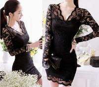New Lace Sheer Hollow Out Long Sleeve Women Lady Mini Dress Slim Stretch Black Clubwear
