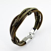 Fashion Mens Titanium Steel Buckle Leather Bracelet Wrap Around
