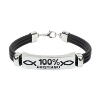 Personality Men's Titanium Steel 100% Cristiano Pattern Faux Leather Bracelet