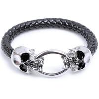 Hot Sale Men New Fashion Adjustable Black Woven Silver Skulls Bracelet