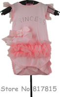 1pcs 100%cotton fashion baby sleeveless lace bow romper princess jumpsuit Climbing clothes girl's wear retail