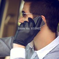 2013 winter men short design thin sheepskin genuine leather driving glove mesh