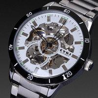 EYKI brand men mechanical hand wind 1ATM luxury skeleton analog dial night light stainless steel automatic mechanical watch men