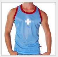 Men's mens underwear  manview mesh breathable cross gym vest 5 colour tank top lack yellow  sky-bule  white bule