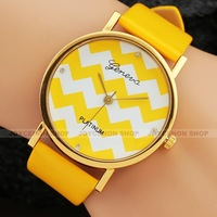 Shine Women Girl Yellow Stripe Dial Leather Band Dress Quartz Wrist Watch Gift Q810