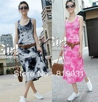 Wholesale - 2014 free shipping New arrival Fashion Women's   tie  dye  Printed Dresses Slim Fit Vest Dresses maxi dress