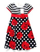 2014 Summer Baby Brand Dress Girls Fashion Flowers stripe Dresses Children stripe Dress with bow Kids Dress Retail 7yeas -14yeas