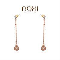 ROXI Christmas Delicate Zircon Earrings Gift Girlfriend Handmade Fashion Gold Plated Ball Drop Earrings Sales Party