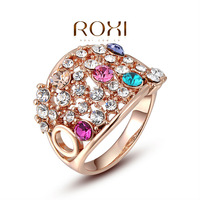 ROXI Christmas Gift Classic Genuine Austrian Crystals Sample Sales Rose Gold Plated Colorful Shining Ring Jewelry Party OFF