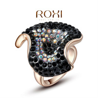 ROXI Christmas Gift Classic Genuine Austrian Crystals Sample Sales Rose Gold Plated Black Ring Jewelry Party OFF