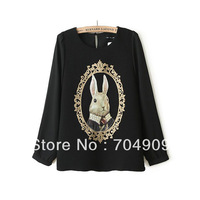 Free Shipping 2014 New Spring Women's Fashion Pearl Rabbit Head Portrait O-neck Chiffon Shirt Tops