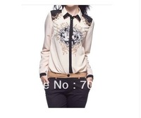 Free Shipping 2014 Spring Fashion New Arrival Designal Print Long-sleeve High Quality Elegance Office Working Blouses Shirt