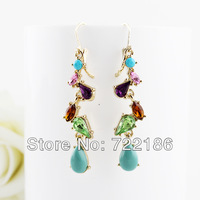 New 2014 Fashion Elegant Design Colorful Imitation Gemstone Alloy Earrings For Women