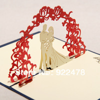 NEW 3D sweet handmade greeting card /Pop up cards/Thank you card for wedding invitations 10pcs/lot Free ship