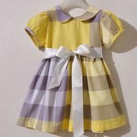 children clothing Yellow grid girl princess dress cotton big bowknot children girl wear brand dress lapel Short sleeve Wholesale