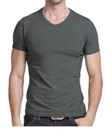 Summer slim men's clothing male short-sleeve T-shirt 100% cotton V-neck tight-fitting t-shirt male short-sleeve T-Shirt D-FYX015