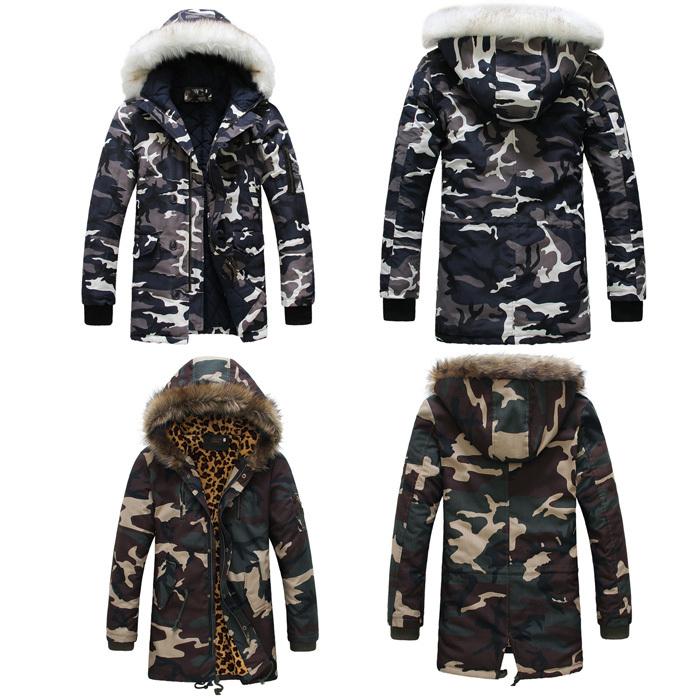 Leoparden tarnung daunenjacken 2014 neuankömmling modemarke herren camo sport schnee wintermäntel h0752