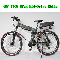 Cheap! 48V 800W Mid Drive Electric Bike Electric Bicycle Foldable Frame Ebike + 48V 20Ah Battery Full Suspension