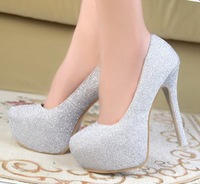 2014 spring sweet fashion soft leather shallow mouth round toe ultra high heels thin heels platform woman high heels dress shoes