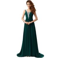 Long Evening Dress 2014 New Arrival Party Dress Evening Elegant V-neck A-Line Ball Gown Party Dress Chiffon Evening Dressess
