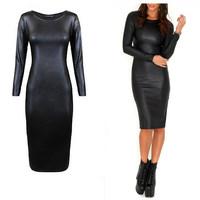 [Unbeatable At $X.99] Fashion Sexy Women PU Dress Leather Long Sleeve Crew Neck Midi Party Dress XXL Clubwear Bandage Dress