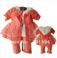 new 2014 spring baby girl lace bow dress clothing sets spring-autumn girl dress kids clothes sets 3pcs children outwear