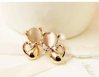 Animal nude color opal Stud Earrings in Korean women bowknot zircon ear ornament cute little kitty C329