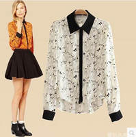CS0670 fashion vintage owl animal print irregular patchwork shirt long sleeve loose chiffon casual blouse european style women