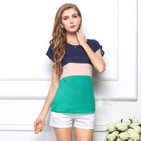 2014 new fashion  women's top Blouse korean Chiffon short sleeve loose batwing sleeve O-Neck striped t Shirt s-xl size 1215