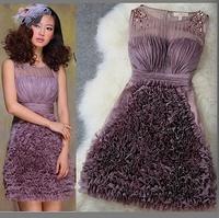 Ladies fashion spring summer chiffon pleat ruffel beading and Embroidery party dress evening dress wedding dress