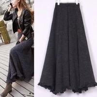 Free Shipping New Fashion Women Clothing Autumn&Winter Ladies Slim Ruffle Yarn Skirt Fashion Vintage Knitted Skirt LBR551