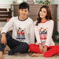 Lovers casual trousers cartoon long-sleeve pullover winter sleepwear 100% cotton set 100% cotton lounge