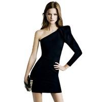 S-XL  new 2014 sexy one shoulder brief dress slim evening fashion bodycon prom casual party wedding winter
