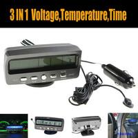 Digital Car Inside Outside Thermometer Meter Voltmeter Clock Alarm Backlight 12V Multi-function Car Voltage Monitor