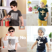 Free Shipping  New 1pc Boy Barcode zebra/Aircraft printing summer Modal t-shirt for boys/girls t shirt HOT tops tees 5 sizes