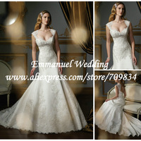 White Long Lace Cap Sleeve 2014 New Arrival Mermaid Wedding Dresses with Sexy Keyhole Back HU094 vestido de noiva