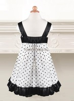 2014 New Spring Girls Party Dress Baby kids Polka Dot Sleeveless Sling Georgette Princess Dress Black/Coffee 1-5 years 19885